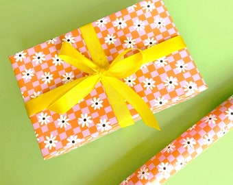 Daisy Check Wrapping Paper / Gift Wrap Sheets.  Fun Colourful Wrapping Paper