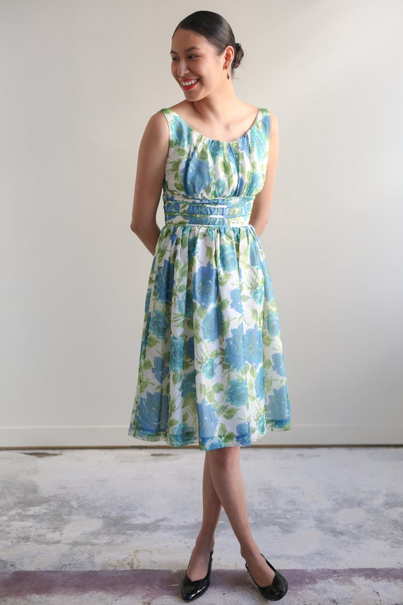 Vintage 1950s floral chiffon dress