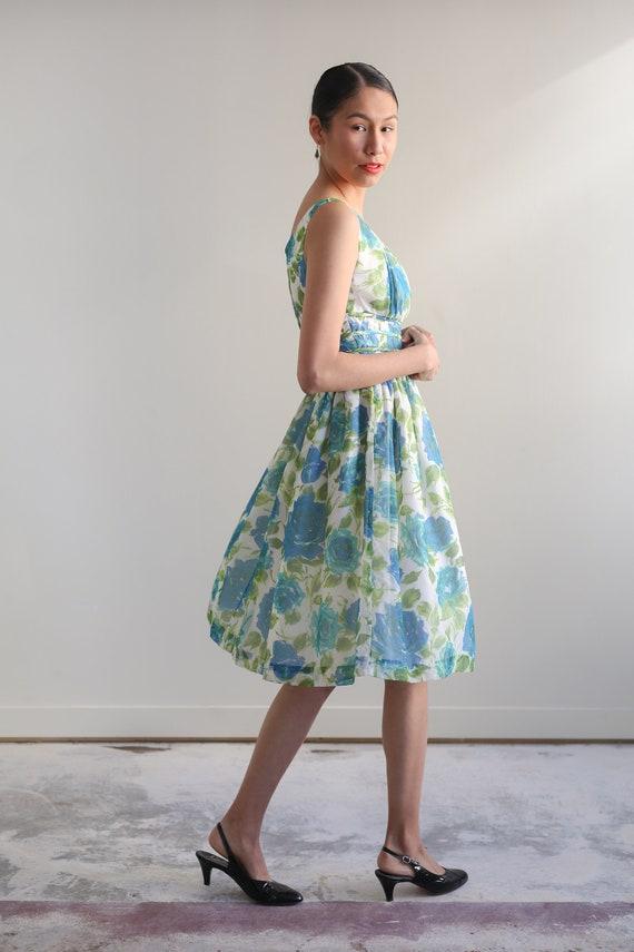 Vintage 1950s floral chiffon dress - image 2