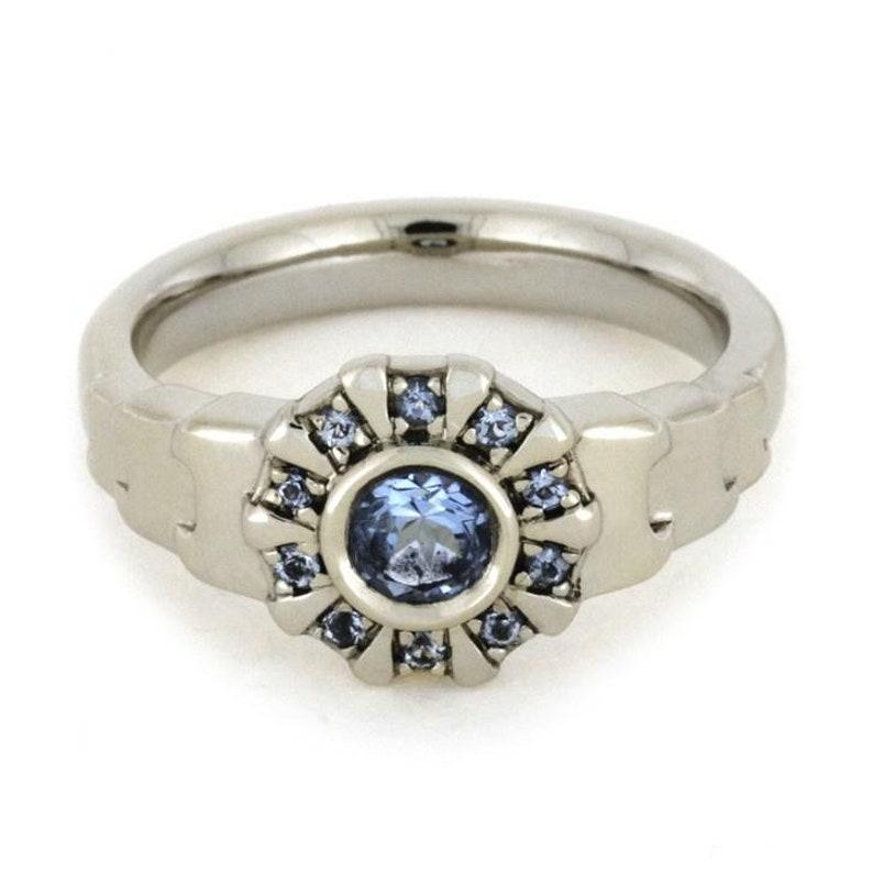 14k White Gold Finish 1.20 Carat Round Cut Aquamarine With CZ Diamond IRON MAN Inspire Ring In 925 Silver
