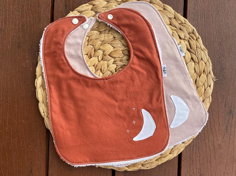 Drool bib Towel bib with snap clip Cotton bib. Dribble bib Baby bib- moon bib in rust