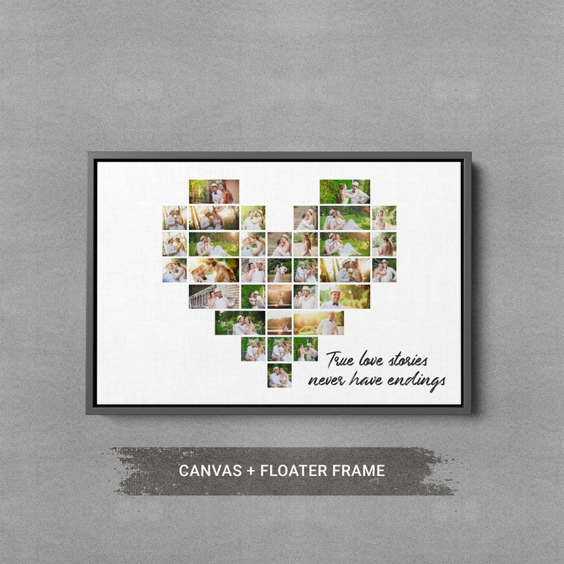 Heart Shape Photo Collage Groomsmen Gift Anniversary Gift For Husband,Engagement Gift For Couple Mothers Day Wedding Gift For Her