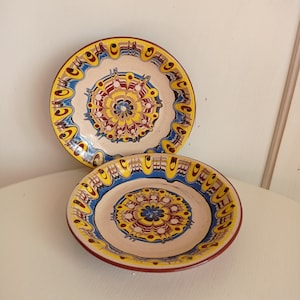 set of 2 1950s MCM Ardalt Lenwile #6676 Japanese China Clay Art Triangle-Shaped Hand-painted Snack Hors d/'Ouvres Plates