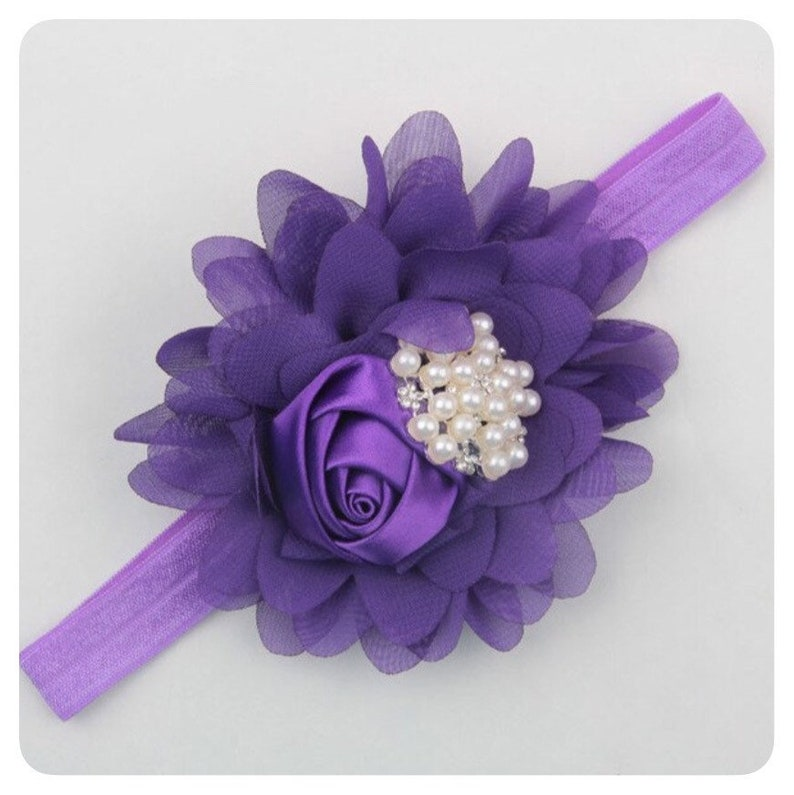 Baby  Child Bejeweled Fancy Floral Headband Hairbow Photo Prop DIY