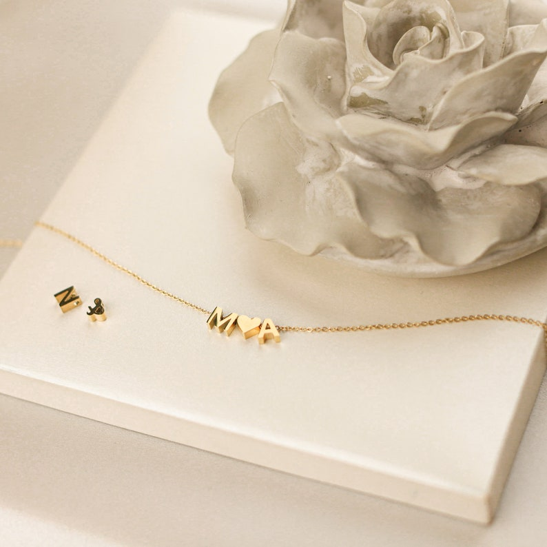 Custom Initials Stackable Necklace Elegant Women  Necklace YX26925 Sideways Initial Necklace Extra Tiny Initial Necklace
