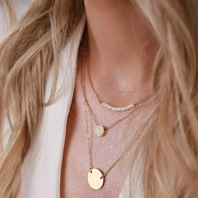 Layered Gold Necklaces combo | Set of 3 necklaces | Pendant necklace | Custom Gift | Choker multi necklace set | Disc necklace | CDNN029
