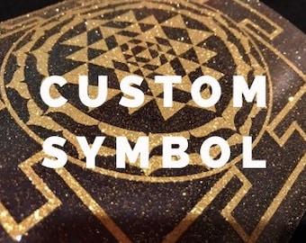 Custom order sticker Heat transfer sticker Iron on vinyl Sacral sticker Jantra sticker Gold jantra Chakra sticker Custom symbol sticker