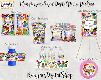 Rugrats Party Supplies Rugrats Birthday Favors Digital File Only EDIT YOURSELF African American Rugrats Water Bottle Label