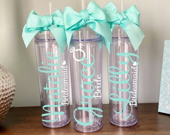 Bridesmaid Gift Custom Tumbler Tumbler with straw Bridesmaid Tumbler Bridal Party Gift Party Favor Bride cup Stainless Steel Tumbler