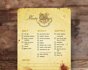 Harry Potter Hogwarts House Chores Cleaning List - Daily Weekly Monthly Family Lists for Kitchen, Living Area, Bathroom Tasks
