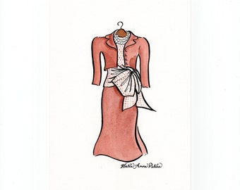 Old Hollywood Pen and Ink Baroness Schraeder Classic Movie Costume Fashion Art Original 5x7 Watercolor Painting Sound of Music Outfit