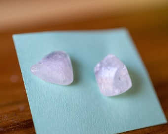 2 Natural Rose Quartz Chunk Earrings Studs Healing Stone Crystal Hypoallergenic Stainless Steel Silver Post Pink Quartz Jewelry Gifts