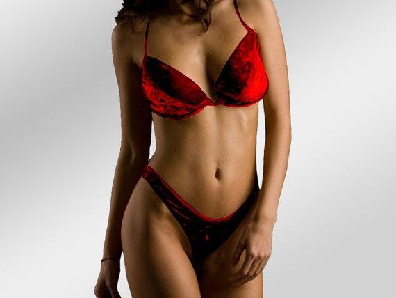 Red Velvet Bikini, 2PC Swimsuit, High-Leg, Sultry