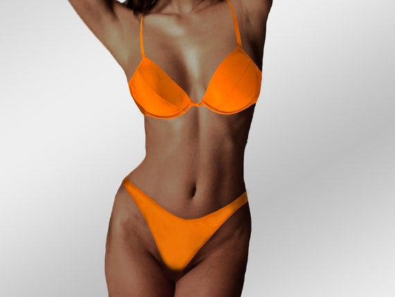 Vintage 90s Bikini, Orange Thong Women's High-Wais