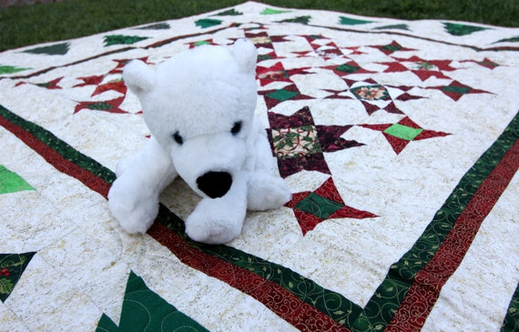 Modern, Throw Quilt Handmad 48 X 54 Lap Quilt Ready To Ship Christmas Rag Quilt Holiday Home Decor Red Gold Green Christmas Whimsy