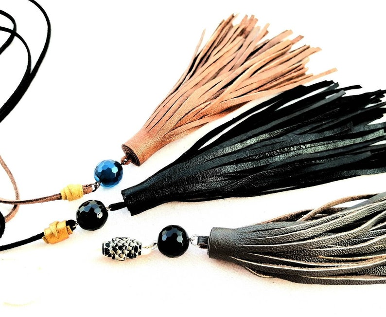 Boho style  brown gray long necklace hand made craft jewelry choker with stone tassel fringe necklace Genuine leather suede necklace