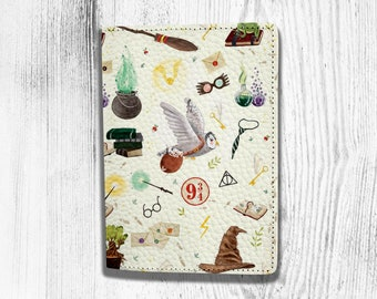 Winter Watercolor Card Snowman Blocking Print Passport Holder Cover Case Travel Luggage Passport Wallet Card Holder Made With Leather For Men Women Kids Family