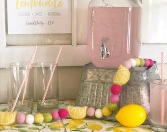 Lemon Garland/Pink Lemonade/Lemon Decor/ Fruit Garland/ Lemon Party/Summer Decor/Felt Lemons/Lemon Decorations/ Lemonade Stand/Lemon Theme