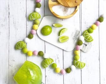 Lime Garland/ Fruit Garland / Felt Ball Garland / Wool Felt Ball / Lemon Lime Decor / Cinco De Mayo / Summer Party / Felt Lime / Citrus Felt