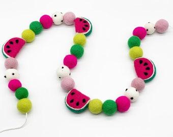 Pink Watermelon Felt Garland/ Felt Ball Garland/ Felt Watermelon/ Summer Garland/ One in a Melon/ Party Decor/ First Birthday