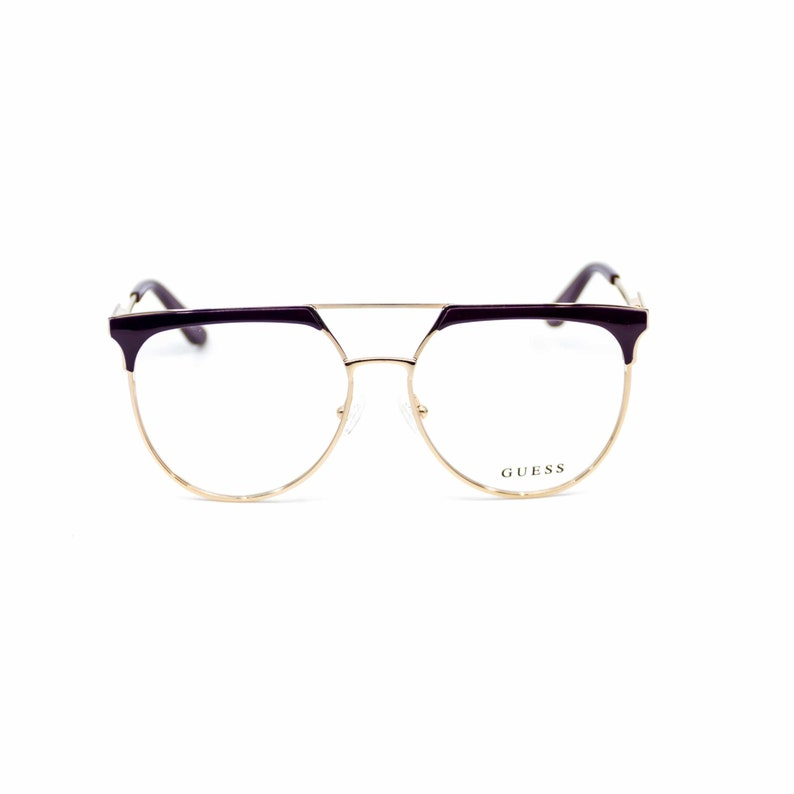 Round style women eyeglasses. Oversized Retro Metal Glasses. Gold metal  Guess Eyeglasses. Fashion reading glasses.