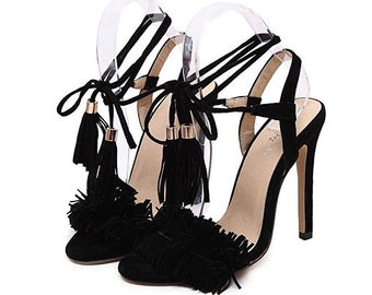 Open Toe High Heel Sandals with fringes