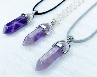 Purple Amethyst Crystal Point Pendant Necklace