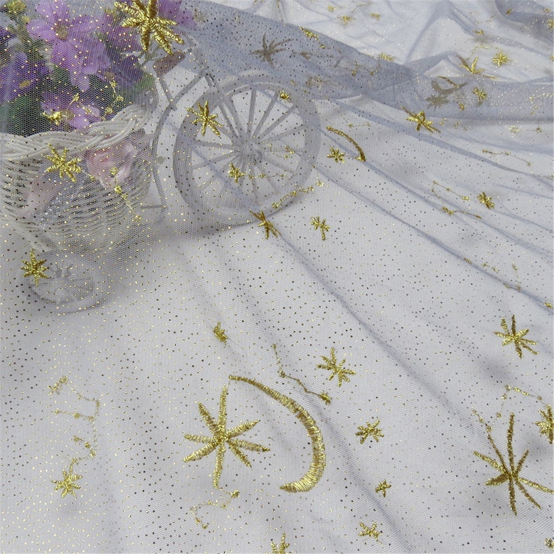 1 yard 50 width Super Beautiful gold glittering tulle moon and stars gold embroidery tulle fabric fashionable mesh fabric by the yard
