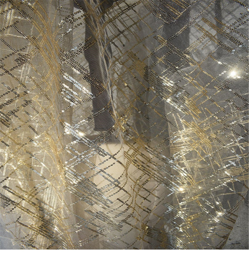designer dress custom gold sequins high toughness hollow transparent mesh tulle fabric with sequins 1 yard 59 width Gauze material