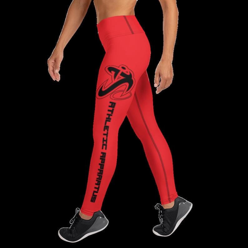 Athletic Apparatus Red 1 Black logo Yoga Leggings