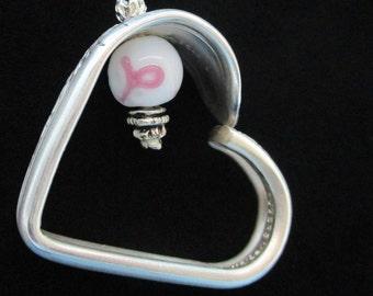 Silverware Jewelry, Heart Pendant, Spoon Jewelry, Cancer Survivor Ribbon, Silver heart, Silver necklace. Survivor pendant,