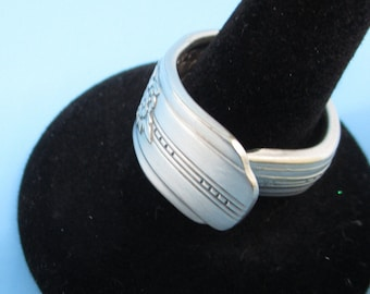 Silverware Ring Spoon Ring Round Ring flower pattern on ring. Silver Ring