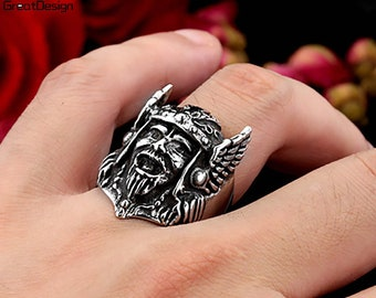 Artificially Aged Mask Ring \u0395xtraterrestrial Unearthly Face Ring Puzzling Head Ring Unique Face Ring Mysterious Humanoid Face Ring
