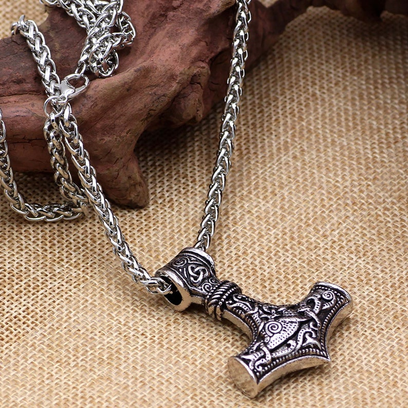 Norse Viking Thor/'s Hammer Talisman Necklace,Vintage Jewelry,Nordic Viking Compass Amulet Pendant,Men\u2019s Round Hip Hop Accessories Jewelry