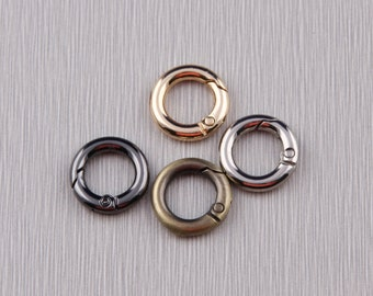 30mm OD Snap Rings Bright Gold Plated Brass Metal O-Ring Fasteners 20mm ID Spring Gate Rings