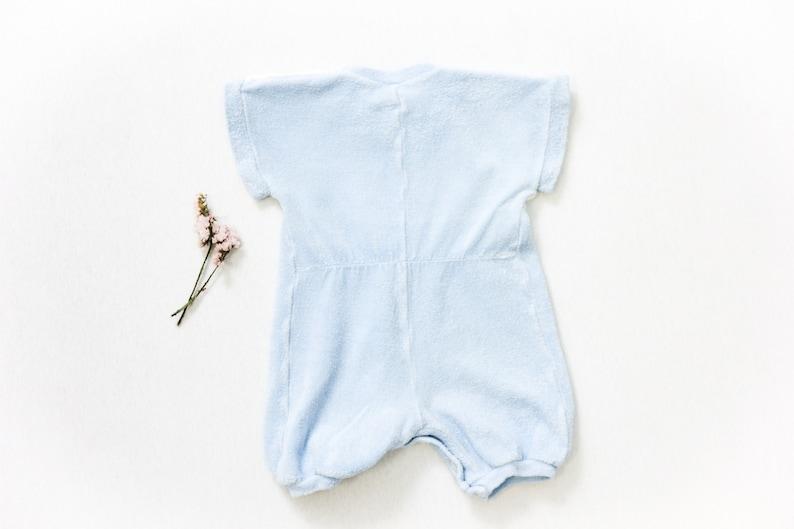 Vintage Baby Wear Age 3-6 months size 74 Terry Cloth Romper Suit Onesie Unitard Baby Blue Striped Baby Romper Kids Vintage Clothing