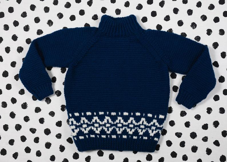 Vintage Kids Sweater Age 8-9 Hand Knit Children Jumper 70s Blue Little Boys Sweater Vintage Kid Clothing Little Girls Sweater Unisex Wear