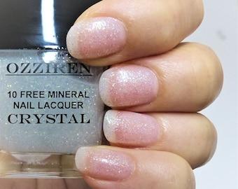 CRYSTAL - 10-Free Mineral Nail Lacquer, Vegan Glitter Nail Polish, Handmade Artisan Lacquer, All Natural Nail Care, Handcrafted Nail Varnish