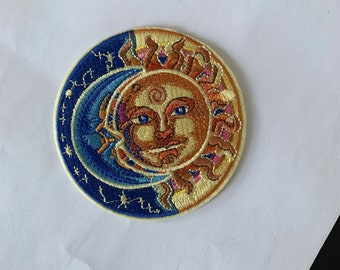 Round cartoon sun Badge  embroidery Patch  cool badge  iron on patch  sew on patch  embroidered patch  patch for jacket  applique