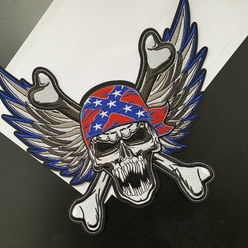 Pirate skull wings  embroidery Patch  cool badge  iron on patch  sew on patch  embroidered patch  patch for jacket  applique