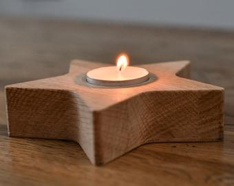 Solid Oak Tea light Star, tea light ,t light, candle stand,Gift, present, lounge