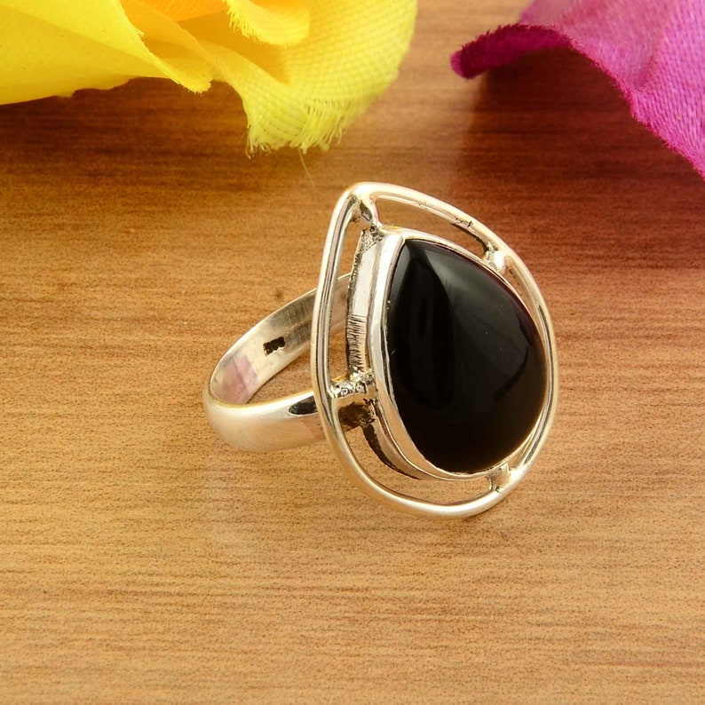 A Quality Black onyx Ring 925 Sterling Silver ring black Onyx Smooth Ring silver ring Designer Ring Wedding Ring ring for manwoman