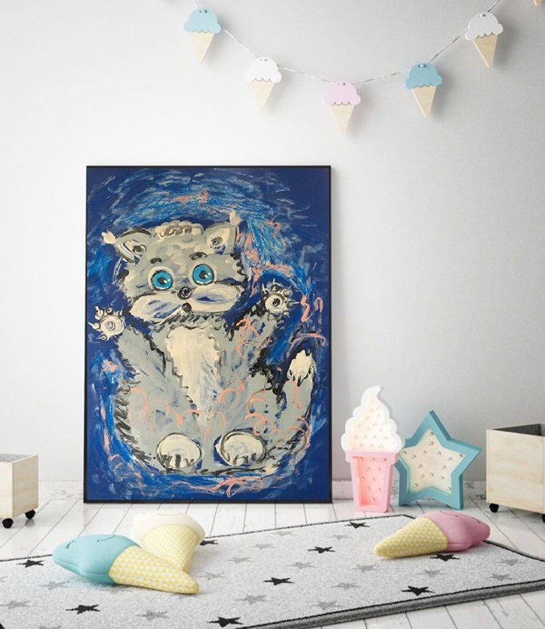 Abstract painting CAT turquoise abstract blue gray abstract CATS wall art 70x50cm handmade Natalia Stanova