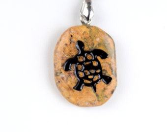 Resin Round Photo Silver Charm Necklace Cave Drawing of Stag Art Pendant