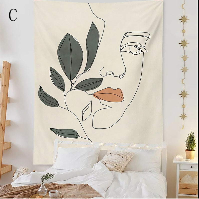 Pensive Woman Tapestry,Abstract Tapestry Mordern Tapestry,Fabric Wall Hanging,Mat Blanket Tablecloth For Home Hotel Decor
