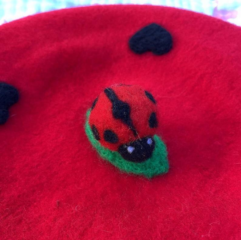 Love Beret Beret Girl Red Beret Wool Beret Ladybug Beret Winter Hat Beret Hat French Beret Beret for Women Tam