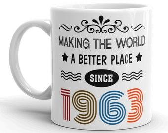 1963 Birthday Gift Stemless Wine Tumbler Birthday Gift for Her Est 1963 Travel Tumbler Coffee Mug Gift for Guy Birthday Gift for Women