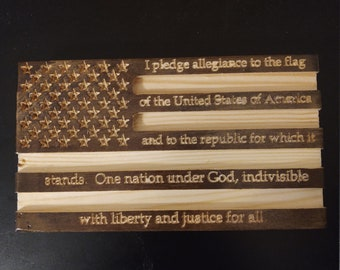 Small Wood American Flag with Pledge of Allegiance