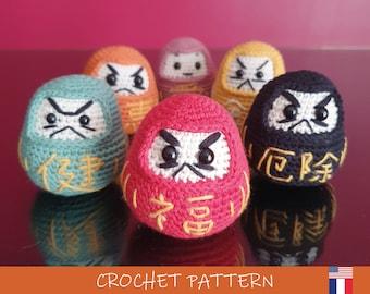 Daruma Doll Crochet Pattern | DIY Amigurumi Digital PDF (English/French) by Potigurumi | Japanese traditional lucky charm
