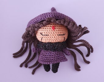 The Purple Witch - Handmade crochet doll / Halloween decoration, magical universe